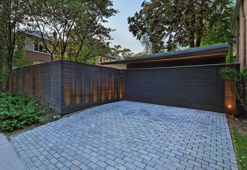 contemporary fence and garage