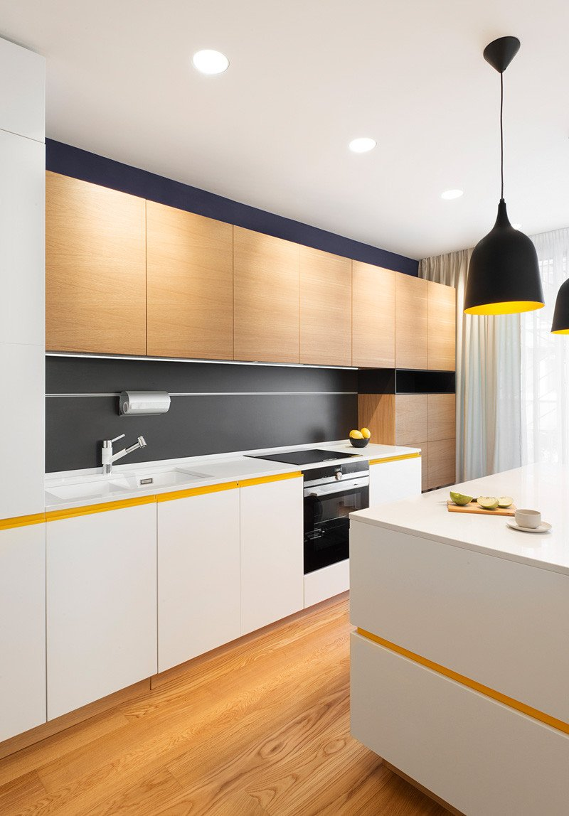 Yellow Apartment kitchen island