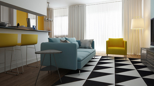 23 Modern Living Rooms Adorned With Black And White Area Rugs Home Design Lover