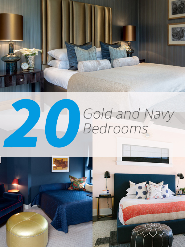 gold navy bedrooms
