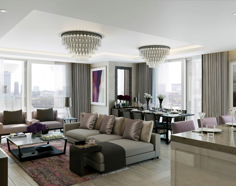 Glass Chandeliers in 20 Fabulous Living Areas | Home Design Lover