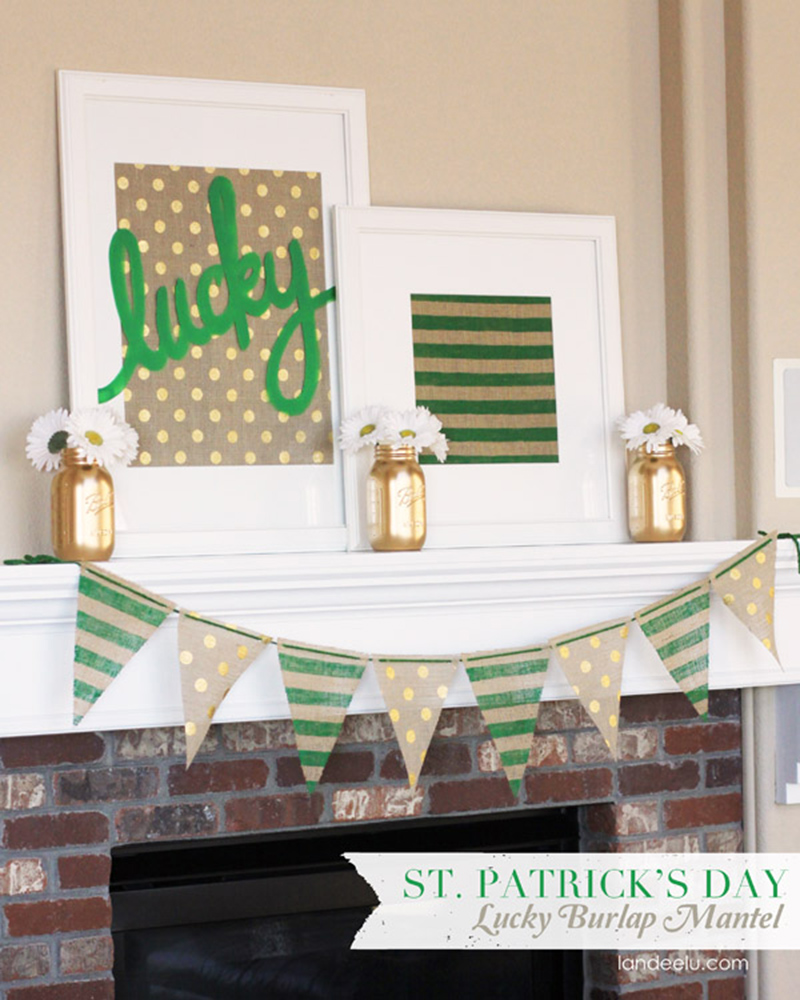 Burlap Mantel Decor St. Patrick's Day