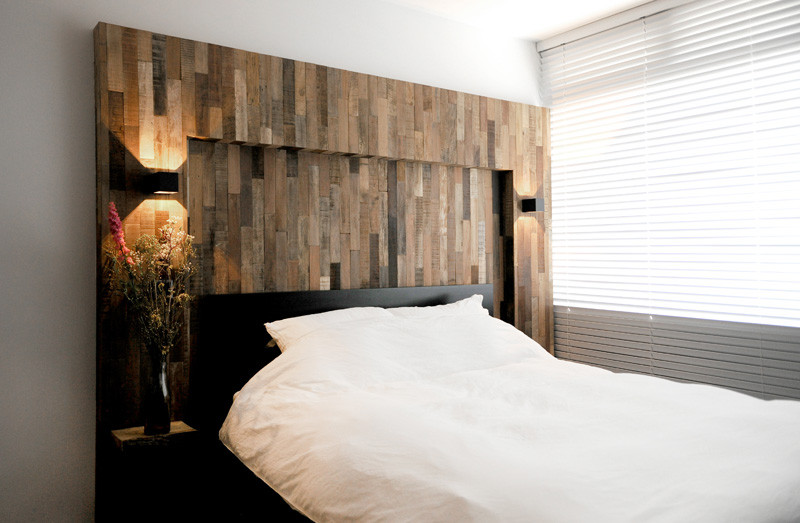 wooden black interior headboard