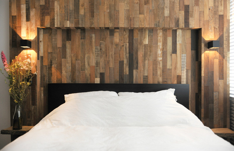 wooden black interior bed