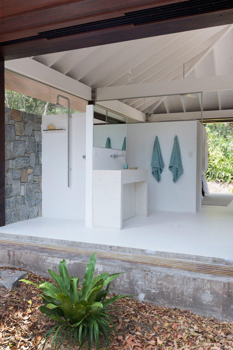 tropical beach bathroom open