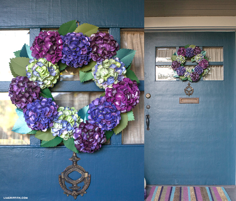Make A DIY Paper Hydrangea Wreath for Fall