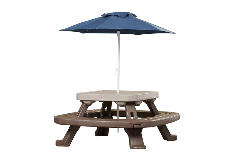 compact picnic table with umbrella