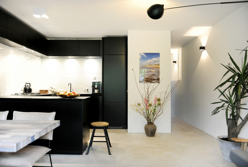 wooden black interior kitchen