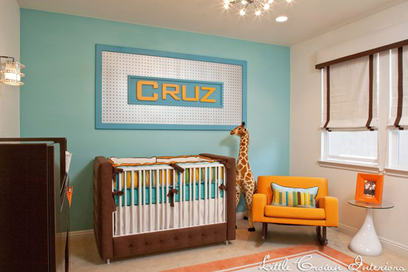 Aqua and Orange Modern Boys Nursery