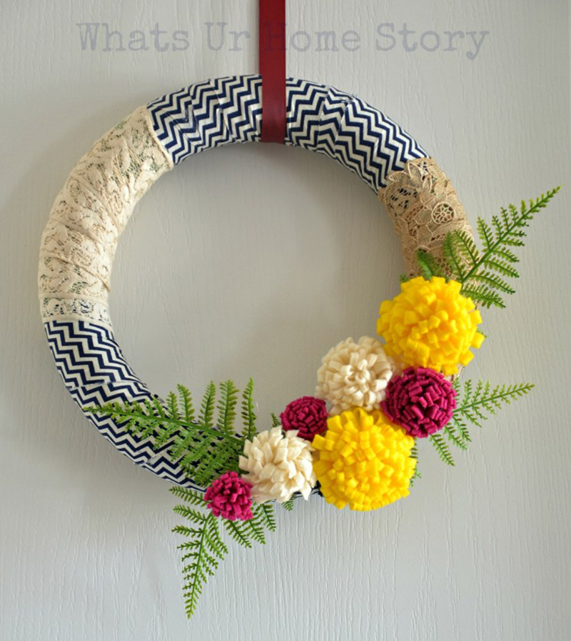 Fabric Scrap Wreath with Felt Flowers