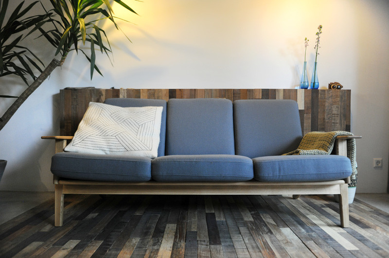 wooden black interior sofa