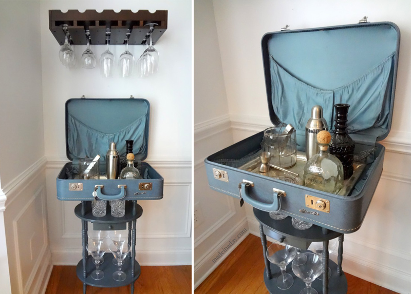 21 diy things to make with old suitcases home design lover. Black Bedroom Furniture Sets. Home Design Ideas