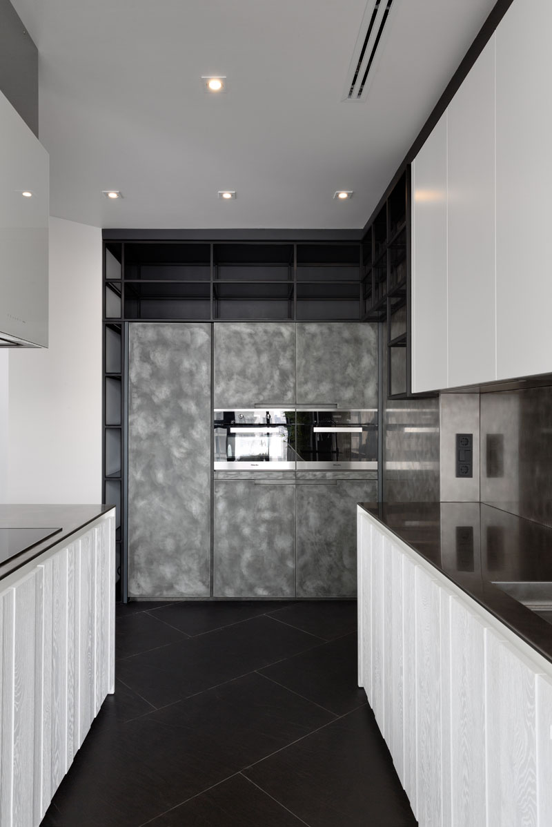 Black and White Apartment kitchen cabinet