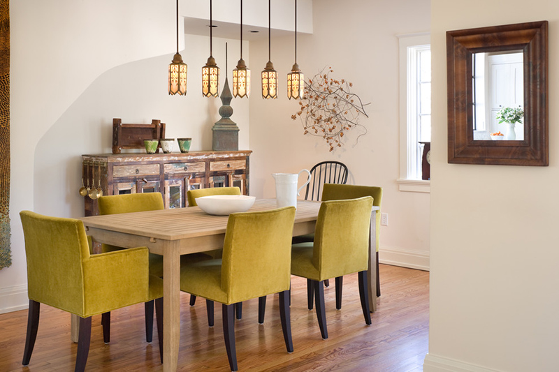 Contemporary Dining Areas with Green Dining Chairs