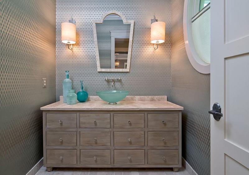 transitional bathroom wallpaper