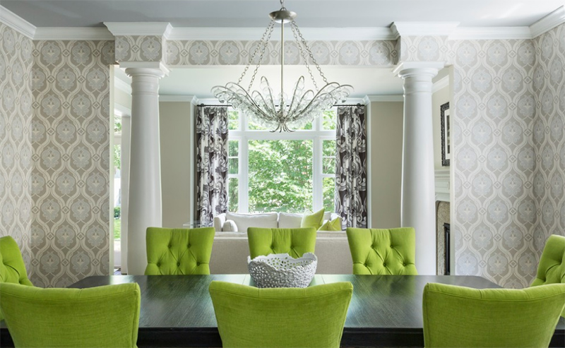 22 Contemporary Dining Areas With Green Chairs