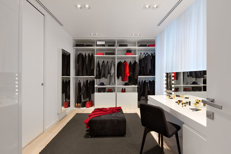 Black and White Apartment her closet