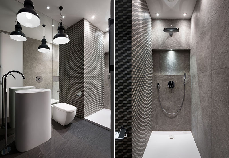 Black and White Apartment shower