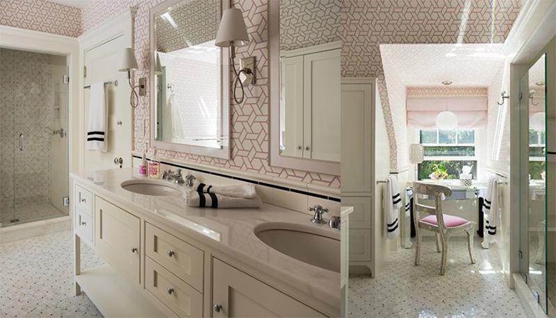 geometric bathroom wallpaper