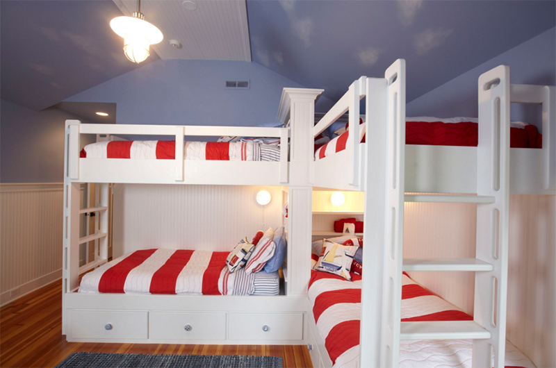 Bunk beds for four or more in 23 boy 39 s bedroom home for Rooms 4 kids chicago