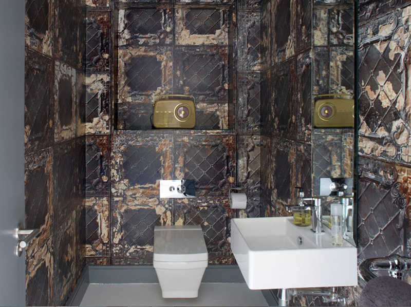 20 designs of stylish bathroom wallpapers home design lover for Steampunk wallpaper home