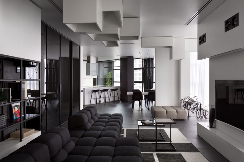 Spacious And Beautiful Modern Black And White Apartment In Ukraine