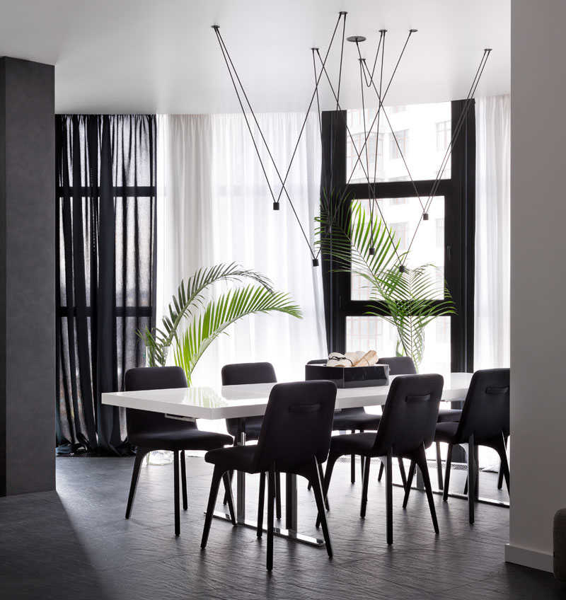 Black and White Apartment dining room