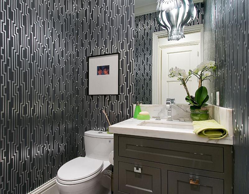 black and silver bathroom wallpaper