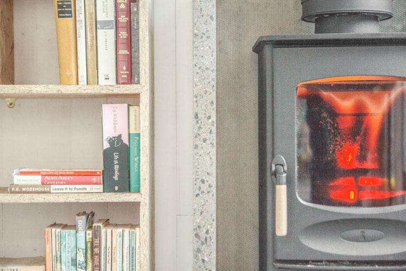Writer's Shed London fireplace