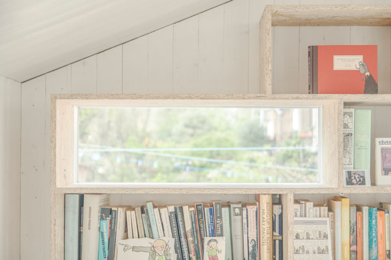 Writer's Shed London tiny cut-out window