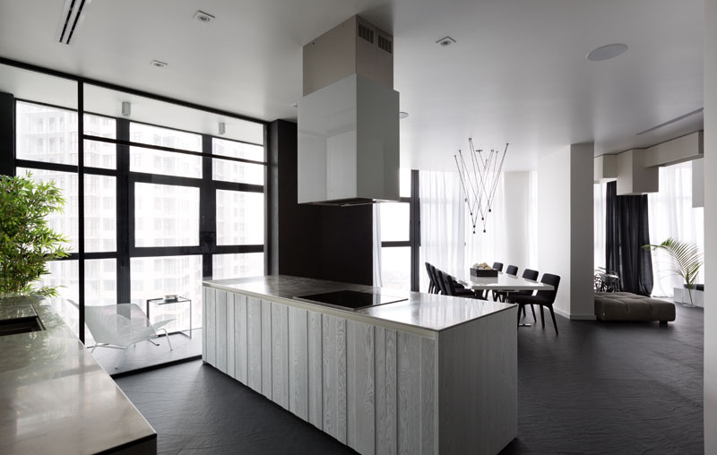 Black and White Apartment kitchen