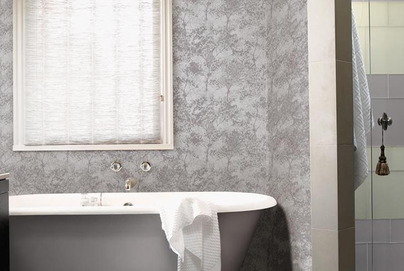 silver bathroom wallpaper