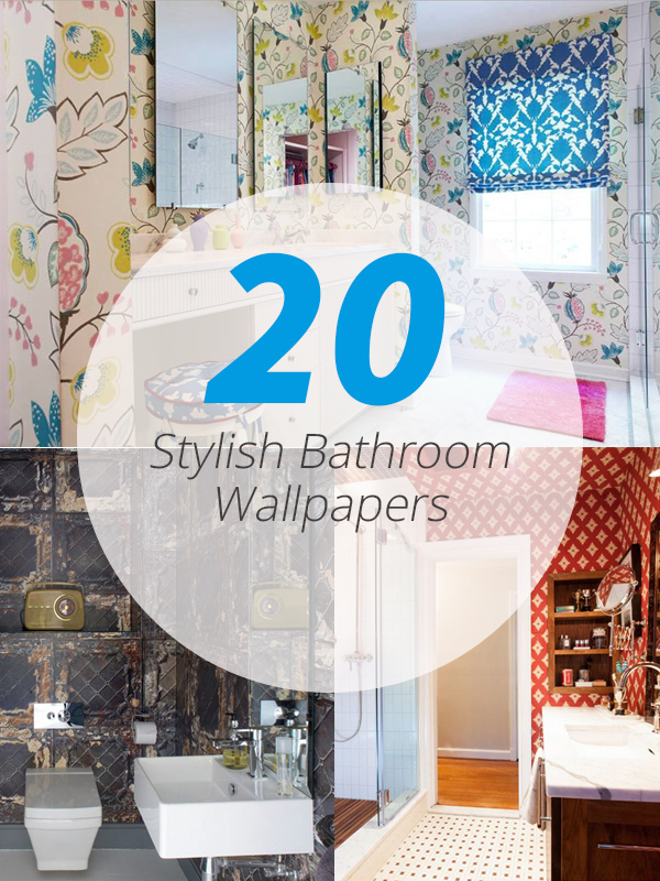 20 designs of stylish bathroom wallpapers home design lover for Trendy bathroom wallpaper