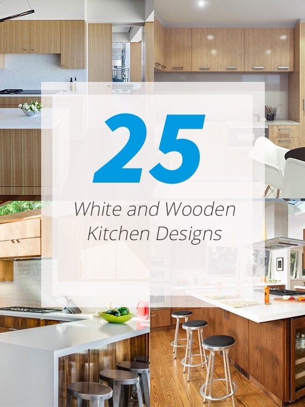 25 Warm White and Wooden Kitchen Designs | Home Design Lover