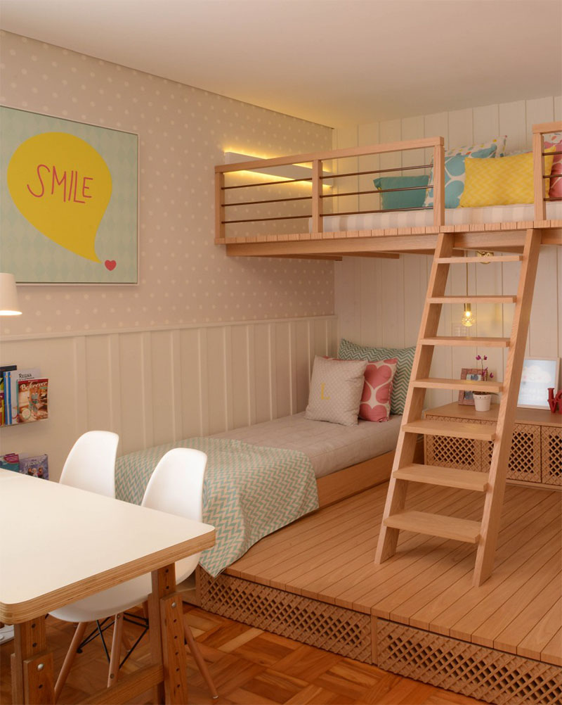 A cute girls bedroom with a lofted play space home - Habitacion para 2 ninos ...