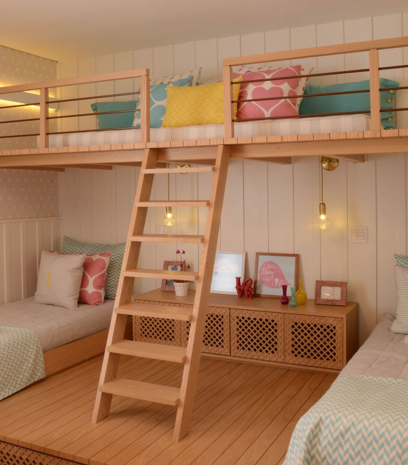 A Cute Girls Bedroom with a Lofted Play Space | Home Design Lover