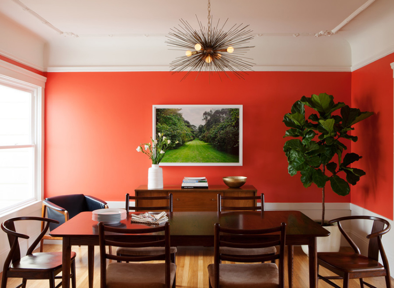 20 fab red accent walls in dining rooms home design lover for Outer space design richmond