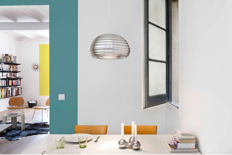 color blocking apartment dining room