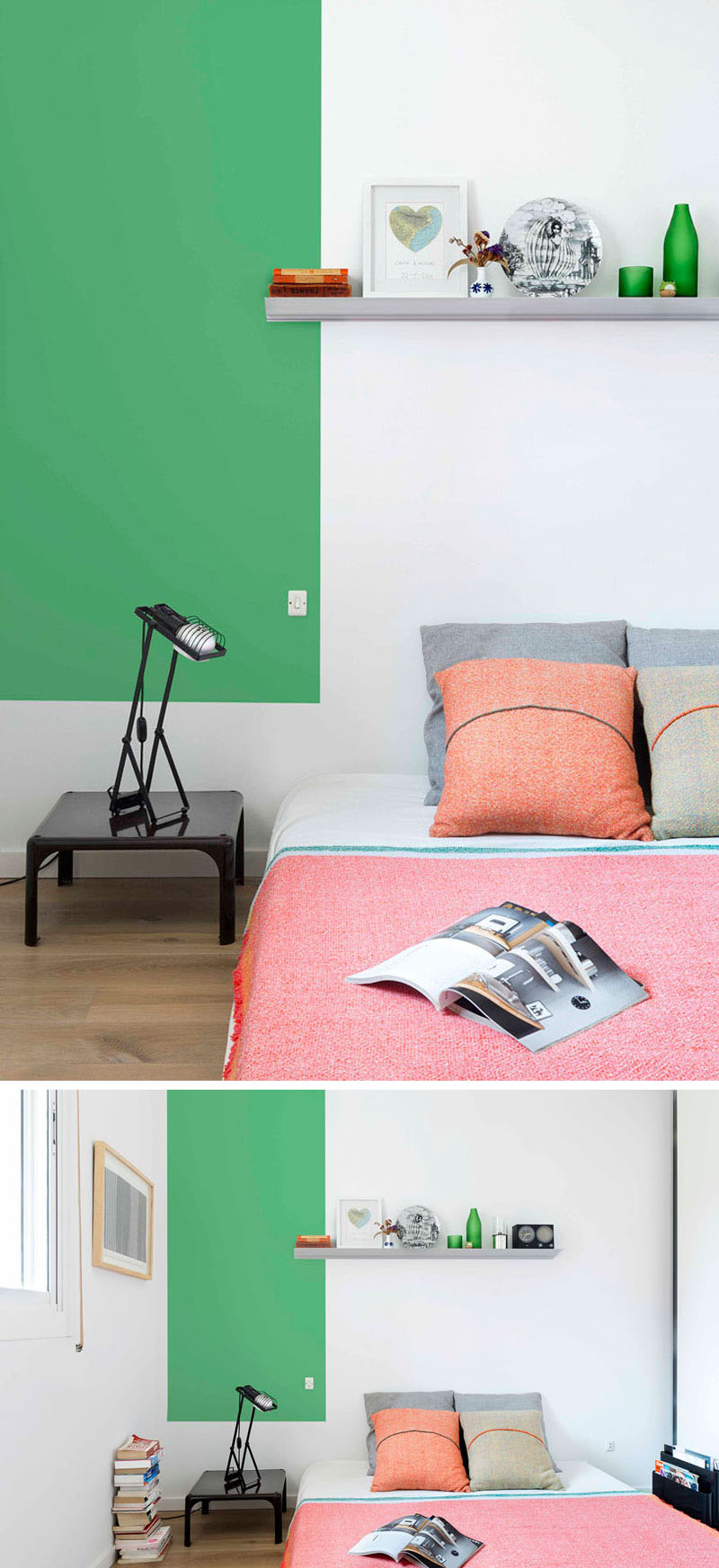 color blocking apartment bedroom