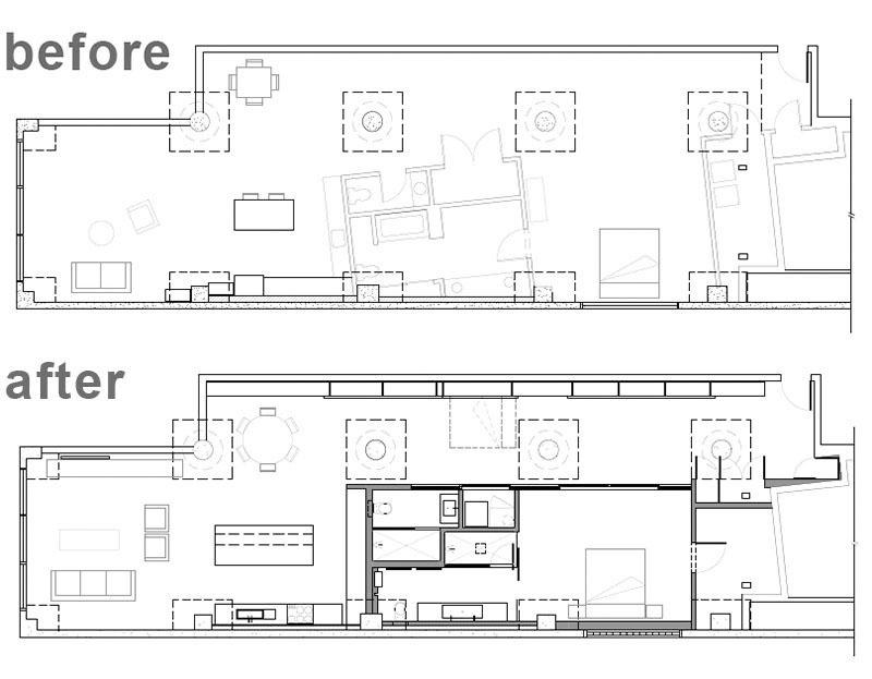 Before and After Loft floor plan