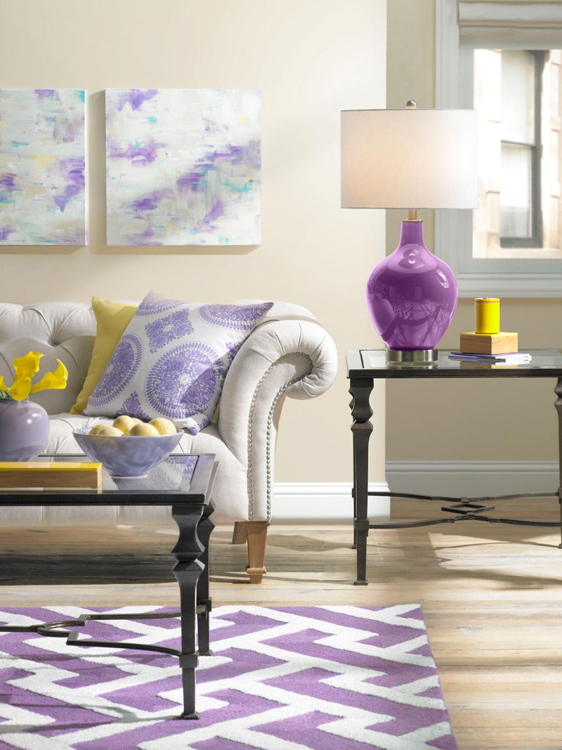 20 Stunning Purple Lamps in the Living Rooms | Home Design Lover