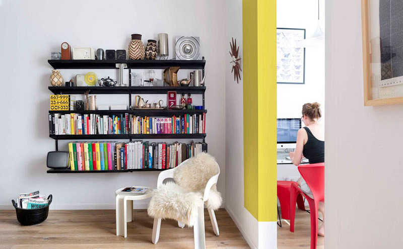 color blocking apartment reading space
