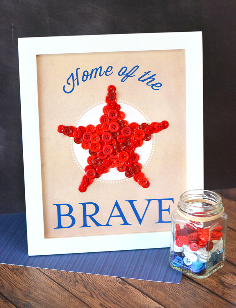DIY Patriotic Home of the Brave Art Wall Decor