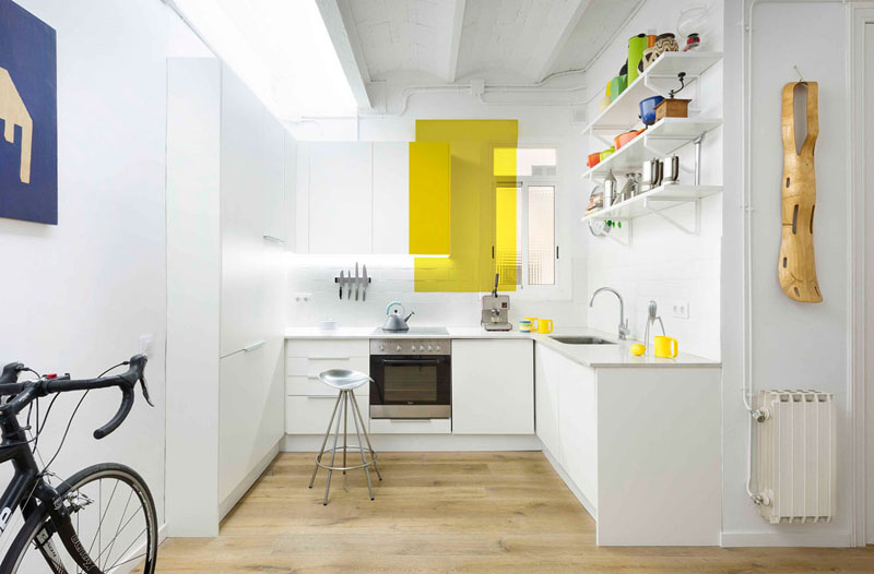 color blocking apartment kitchen