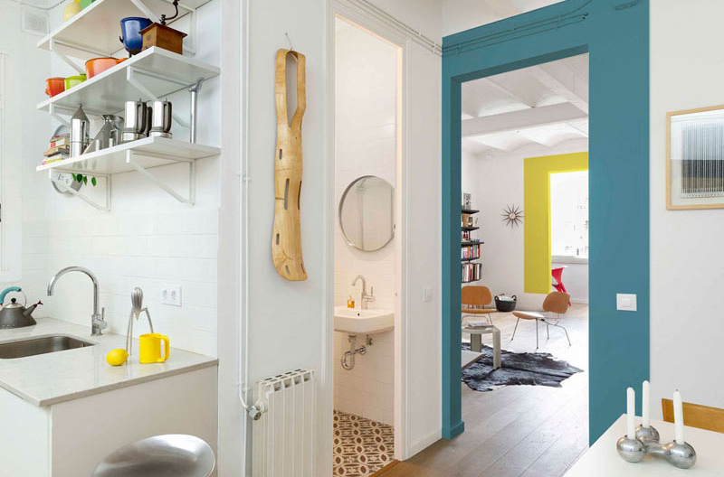color blocking apartment bathroom