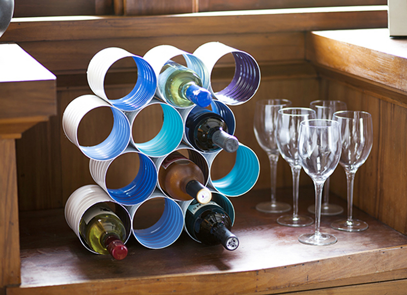 DIY Wine Bottle Rack Made From Coffee Cans