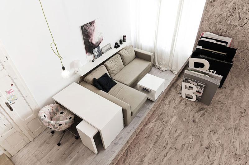 29 sq m loft apartment living area