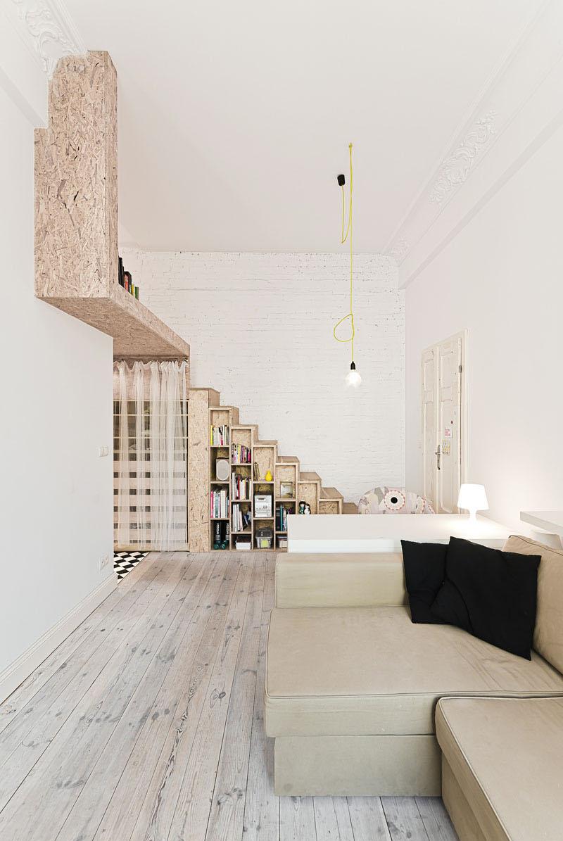 29 sq m loft apartment bookshelves