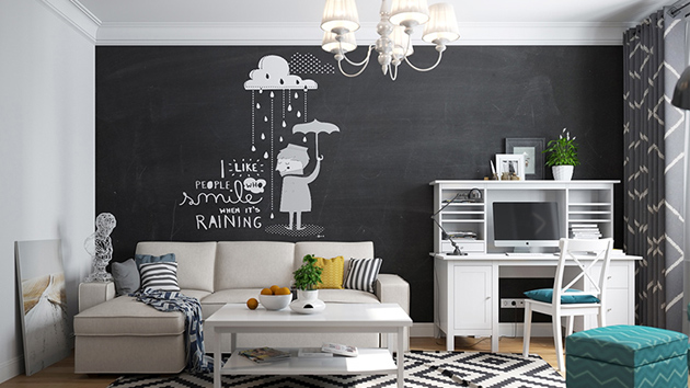 20 Chalkboard Walls and Decors in the Living Room | Home Design Lover