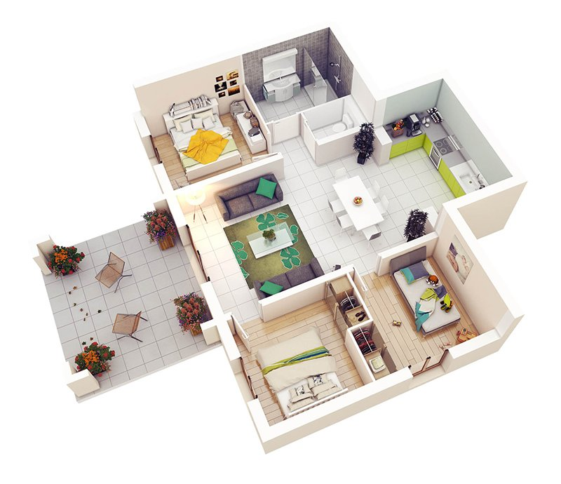 Charmant 3 Bedroom Plan